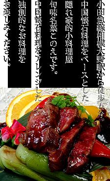 小田急線相模大野駅から徒歩五分。中国懐石料理をベースとした隠れ家的小料理屋、旬味名菜このえです。中国懐石料理をアレンジした独創的なお料理をお楽しみください。